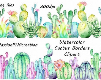 Watercolor Cactus Borders Clipart, PNG, Photo overlay, Card making, cactus clip art,  For Personal and Commercial use