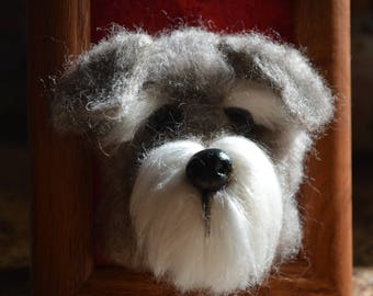 Handmade Needle Felted Schnauzer Pet Portrait with Polymer Clay Nose