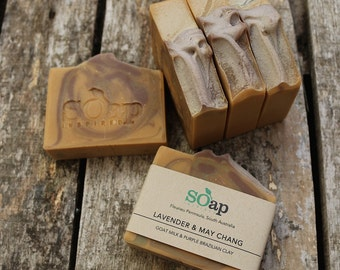 Lavender & May Chang - Fresh Goat's Milk - Trio of Clays - Natural - Mild - Palm Oil Free