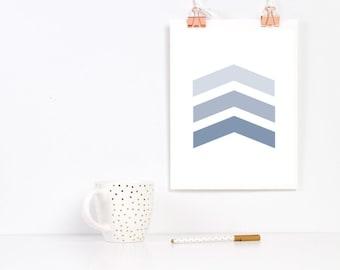 Chevron Arrow Print Gray Blue