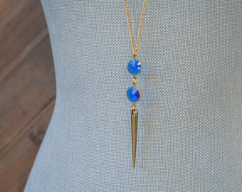 CLOSEOUT Long Sapphire Blue Necklace - Long Gold Spike Necklace - September Birthstone Necklace - Royal Blue Lucite Necklace