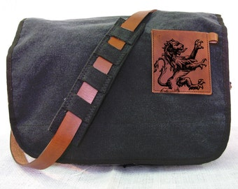 black canvas messenger bag with leather accents - lion bag
