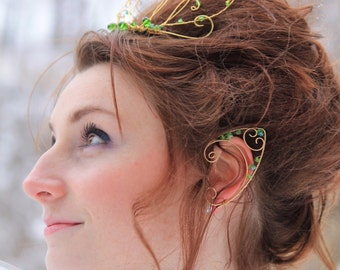 green wire elf ear cuffs