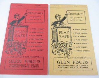 Vintage Note Pads Autograph Books, Lawrence County Schools, Illinois
