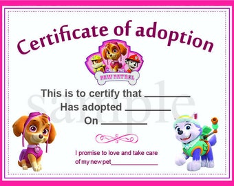 Paw patrol adoption certificate instant download custom paw patrol adoption certificate printable digital graphic pet diploma adoptions puppies instant download yadclub Choice Image