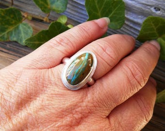 Peruvian Blue Opal Ring, Size 9, Plus Size Womens Ring, Natural Stone Sterling Silver Ring, Bohemian Ring, Boho Ring, Free Shipping
