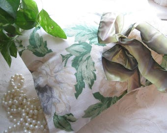 Decorative Pillowcase, Pillowcase, Roses, Cream and Green, Handmade, Cottage Charm, French Vintage, by mailordervintage on etsy