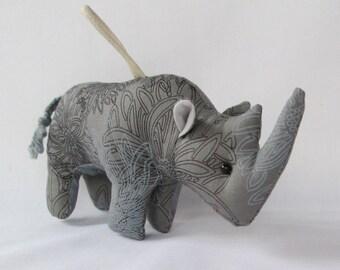Fabric 4-Legged Rhinoceros (Rhino) keychain, ornament, accessory