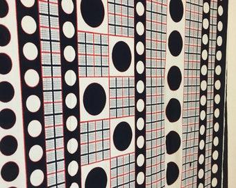 """noir rouge et blanc optique tissu, tissu en polyester, 48 """"x 100"""" tissu Vintage, matériel de bricolage, un morceau de tissu imprimé Vintage"""