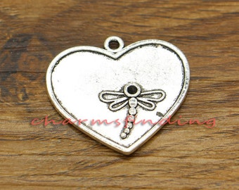 15pcs Large Dragonfly Charms Insect Charms Large Charms Antique Silver Tone 24x26mm cf2525