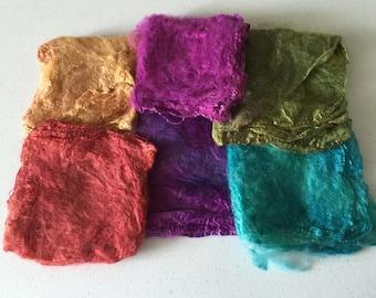 Silk Hankie Matawa Silk Hankies Felting Supplies Wet Felting Supplies Silk for spinners