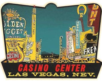 Vintage Style Las Vegas Fremont Street casino  Nevada     1950's   Travel Decal sticker
