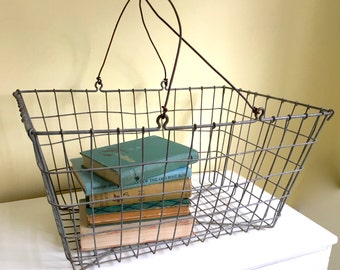 Antique Rustic Wire Basket, Rectangular Basket with Handles, Industrial, Cottage Chic