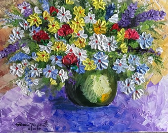 SHOP SALE! Bouquet of Field Flowers and Roses Original Acrylic Stretched Canvas Painting with FREE Matching Book