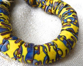 Vintage Trade Beads, Vintage Matched AfricanTrade Beads, Trade Bead with Angle Ends 5 pieces