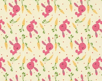 STORE CLOSING SALE - Garden, Bunny & Carrots, Pink, David Walker, Free Spirit, 100% Cotton Quilt Fabric, Quilting Fabric