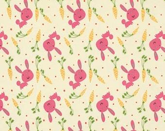 FERMETURE vente - jardin, lapin & carottes, rose, David Walker, esprit libre, tissu patchwork 100 % coton, tissu à courtepointe du magasin