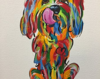 Dog Art / Dog Painting / Dog Canvas / Wall Art / Custom Painting / Vibrant / Debby Carman /  Faux Paw Productions