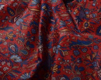 Polished Cotton Fabric, Red Fabric, Cotton Floral Fabric, Decorator Fabric, Chintz Fabric, Home Decor Fabric - 1 Yard - CFL2645
