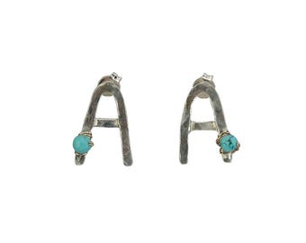 Sterling silver letter stud earrings, Custom stud earrings, turquoise stud, personalized stud, monogram post, initial A earrings