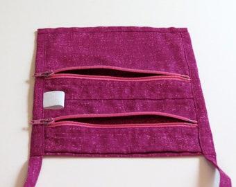 Passport Pouch - Pink - 2 zipper