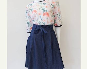 Indigo Wrap skirt, Dark blue cotton denim skirt, summer weight skirt, Handmade in Canada
