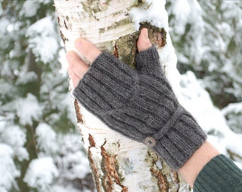 Mens fingerless mittens with button - mens wrist warmers charcoal gray hand knit Eco gift