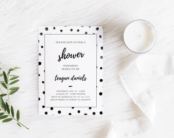 Classic Black and White Customizable Baby or Bridal Shower Invitation - Digital File Only
