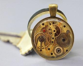 Steampunk Keychain Watch Parts Gears Cogs Car Accessories Key Chain Key Fob