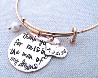 Thank you for raising the man of my dreams Bracelet -  Gold filled Mother of the Groom Gift