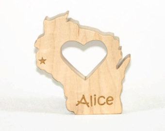 Wooden Baby Teether State of Wisconsin Personalized Baby Teething Toy