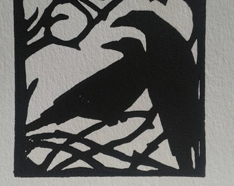Black Ravens handmade linocut print by Katrina Wallis-King - folk art, gothic, Norse myths