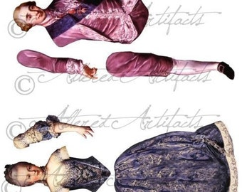 Marie Antoinette Printable Paper Doll And Her Husband Printable Articulated Paper Doll Theater Puppet Digital Collage Sheet Instant Download