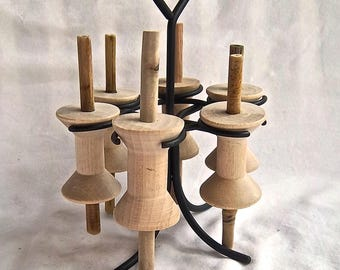 Handmade Redesign Reproduction Vintage Spools Black Metal Organizer Spool Stand Handmade Reproduction Spools and Vintage Redesign Stand Set