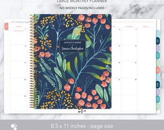 8.5x11 MONTHLY PLANNER notebook | 2018 2019 no weekly view | choose your start month | 12 month calendar | navy watercolor floral