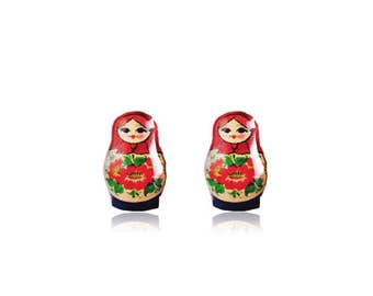 Matryoshka Doll Earrings - Russian Nesting Doll Stud Earrings - Babushka Doll Earrings - Babushka Nesting Doll - Surgical Steel Studs