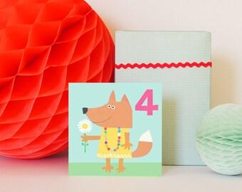 Age Four Fox Birthday Card | birthday card | 4th birthday | girls birthday card