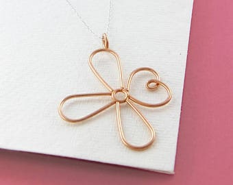 Rose Gold Necklace, Flower Necklace, Daisy Necklace, Flower Pendant, Rose Gold Flower, Rose Gold Pendant, Handmade Necklace, Dainty Necklace