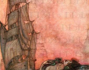 Mysterious Floating MERMAID And Ship. Fairy Tale Vintage DIGITAL Illustration. Mermaid Digital Download. Mermaid Digital PRINT.