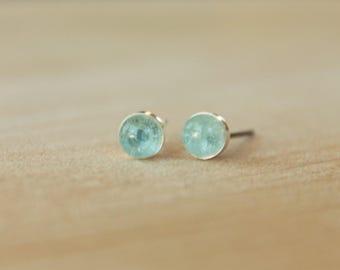 Sky Blue Topaz Gemstone 5mm Bezel Set on Hypoallergenic Nickel Free Niobium Posts or Titanium Posts - Earrings for Sensitive Ears