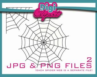 Spider Web Halloween Clip Art (W2 Thin) - INSTANT DOWNLOAD