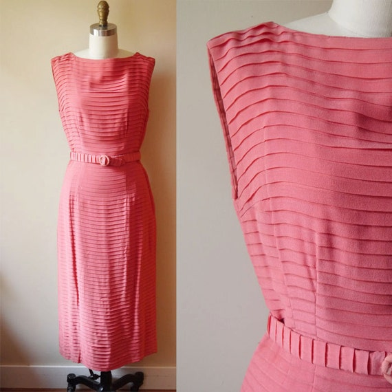 1950s Chiffon Silk Pleated Dress // coral pink // vintage dress