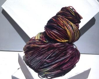 "Sock yarn, fingering weight, handpainted yarn, ""Painted Rock"" shawl yarn sock weight, gold wine teal navy yarn"