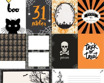 Gothic Halloween -  Journal Cards Instant Download Printable journaling cards for Project Life