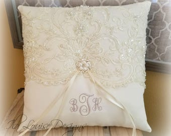 Beaded Alencon Lace Ring Bearer Pillow, Ivory Ring Bearer Pillow, White Lace Pillow, Ring Bearer Pillow, Beaded Ring Bearer Pillow
