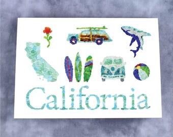 California Sea Glass Note Card - Blank