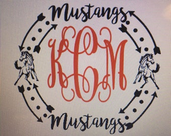 Do it Yourself IRON-ON Glitter mustangs Monogram /mustangs Decal / mustangs monogram / glitter iron on monogram
