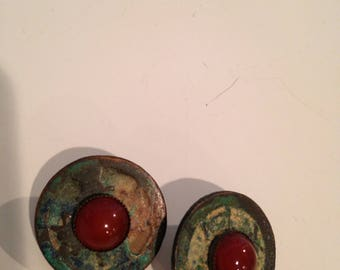 Vintage Jan Michaels San Francisco carnelian old coin earrings