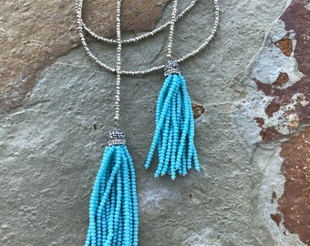 Boho turquoise blue crystal tassel and pyrite long lariate necklace