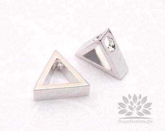 P551-02-S// Rhodium Plated 8mm Simple Triangle Pendant, 2 pcs